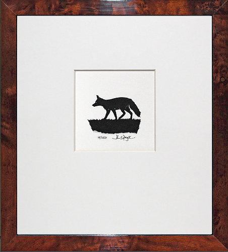 Fox in Walnut Veneer Frame