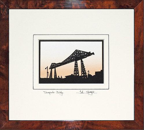 Transporter Bridge Middlesbrough in Walnut Veneer Frame
