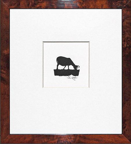 Hebridean Sheep - Grazing in Walnut Veneer Frame