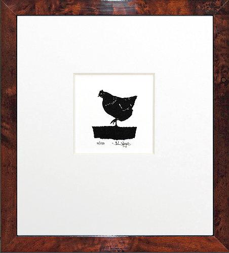 Hen - Standing in Walnut Veneer Frame