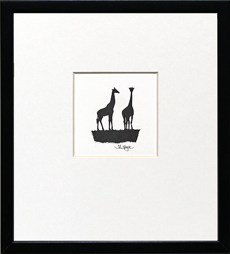 Giraffes in Black Frame