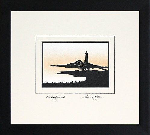 St. Mary's Island Whitley Bay in Black Frame
