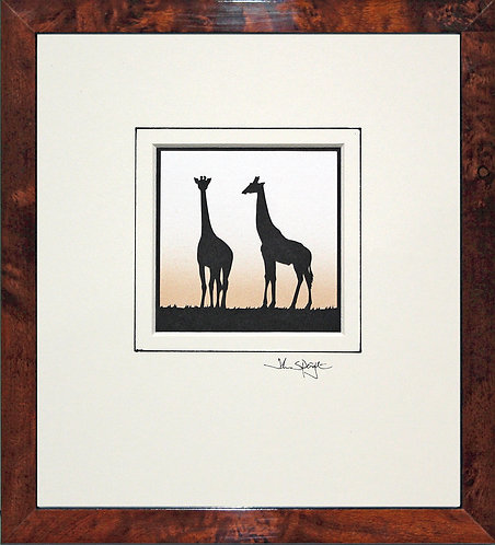 Giraffes in Walnut Veneer Frame