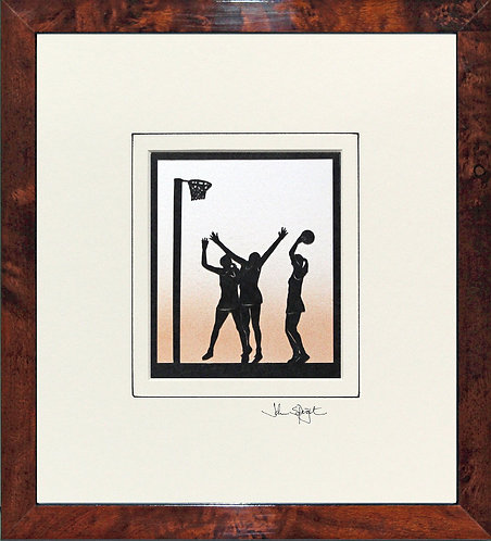 Netball in Walnut Veneer Frame