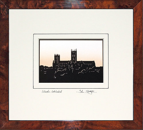 Lincoln Cathedral in Walnut Veneer Frame