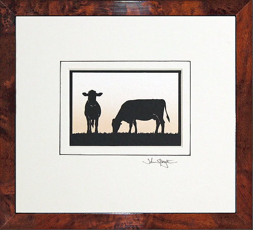 Cows in Walnut Veneer Frame