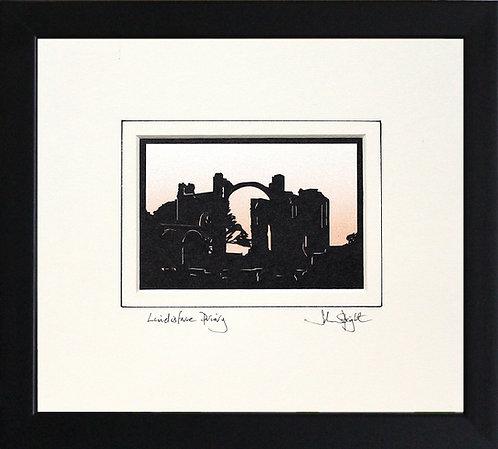 Lindisfarne Priory in Black Frame