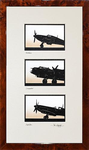 Hurricane, Lancaster, & Spitfire Triple in Walnut Veneer Frame