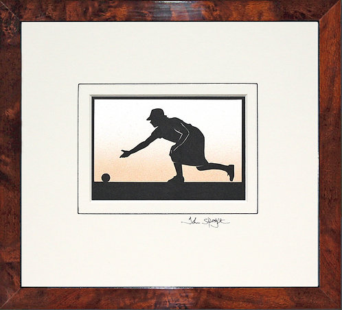 Bowls Player - Female in Walnut Veneer Frame