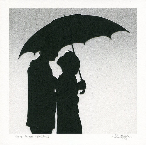 """Love in all weathers  8"""" x 8"""" Giclee Print Signed"""