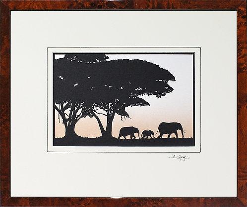 Elephants in Walnut Veneer Frame