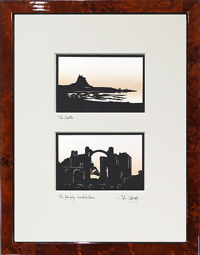 Holy Island Castle & Priory Pair in Walnut Veneer Frame