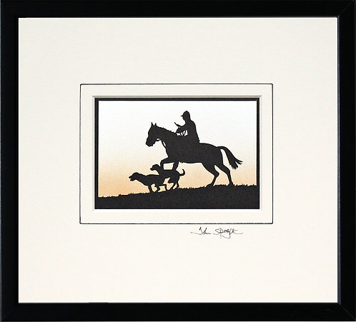 Horse and Hounds Framed in Black Frame