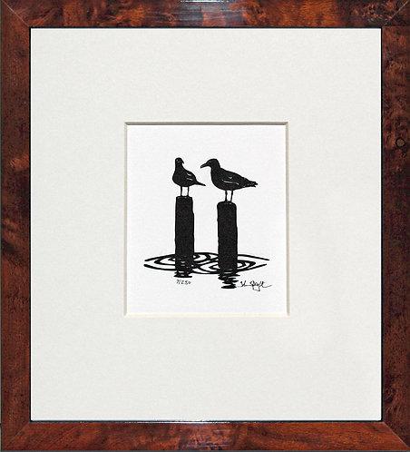 Seagulls in Walnut Veneer Frame