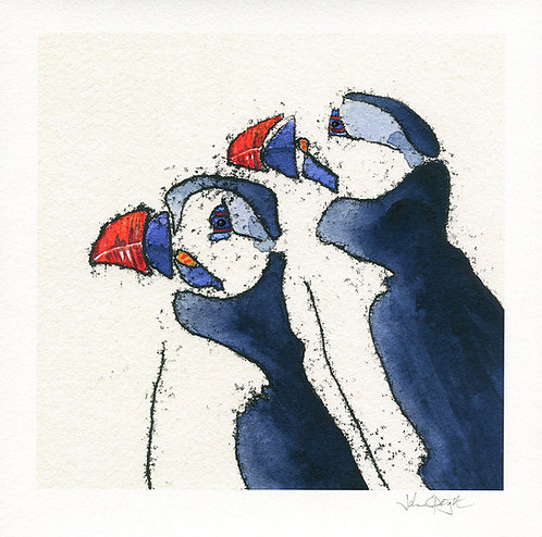 """Puffins (Design 1) 10"""" x 10"""" Giclee Print Signed"""