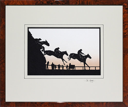 Horse Racing Fence in Walnut Veneer Frame