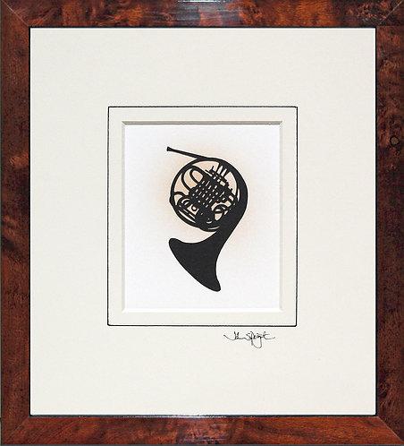 French Horn in Walnut Veneer Frame