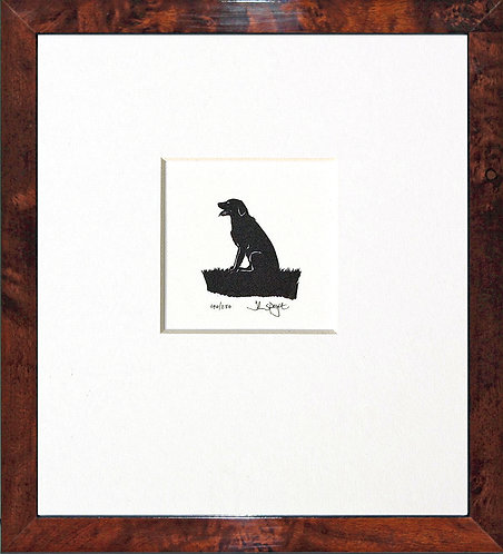 Labrador - Sitting, Panting in Walnut Veneer Frame