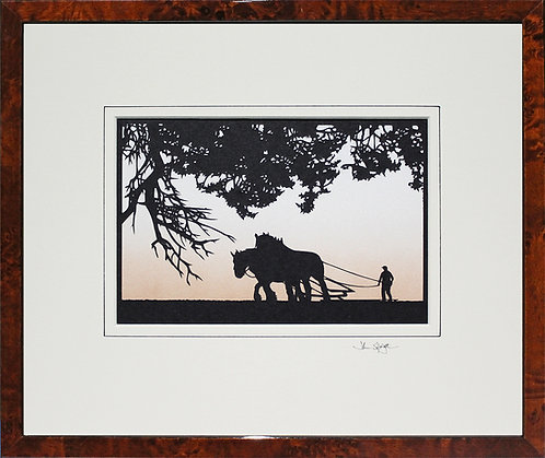 Heavy Horses - Large Version in Walnut Veneer Frame