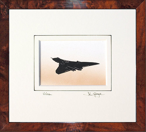 Vulcan - Flying in Walnut Veneer Frame
