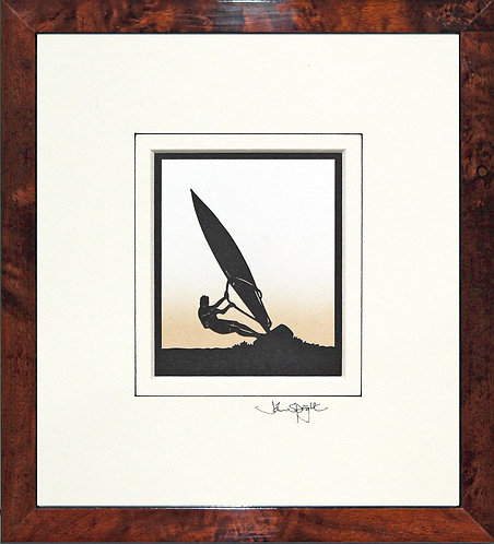 Windsurfer in Walnut Veneer Frame