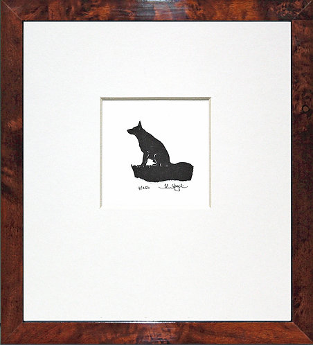 German Shepherd in Walnut Veneer Frame