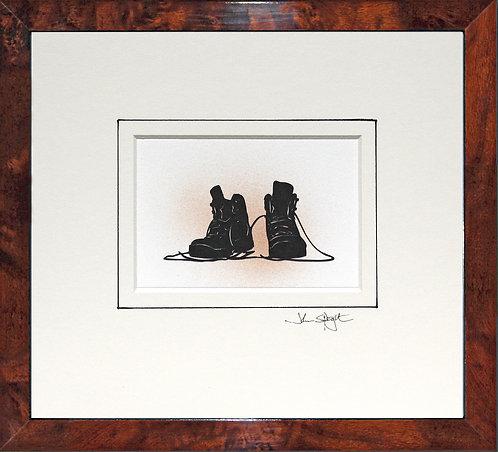 Walking Boots in Walnut Veneer Frame