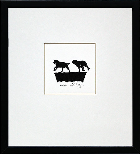 Labradors Running in Black Frame