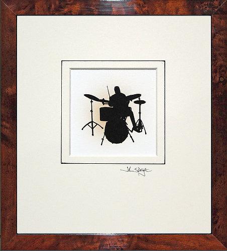 Drummer in Walnut Veneer Frame