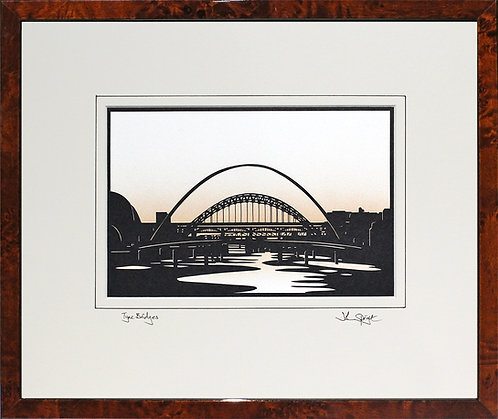Tyne Bridges - Large Version in Walnut Veneer Frame