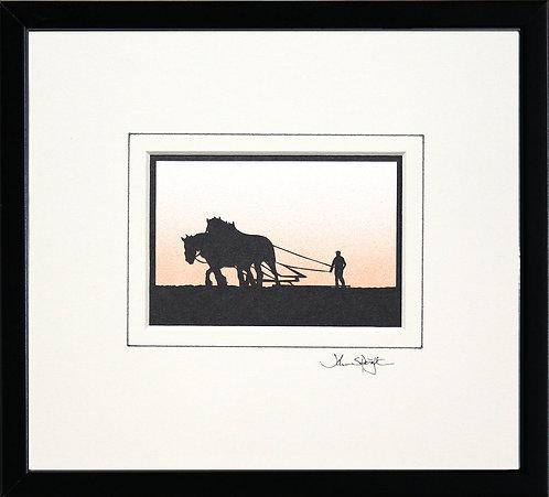 Heavy Horses in Black Frame