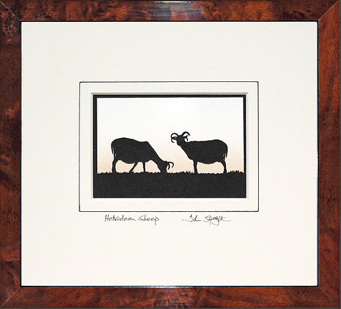 Hebridean Sheep in Walnut Veneer Frame