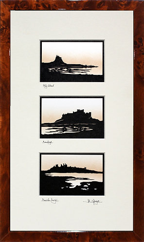 Holy Island, Bamburgh & Dunstanburgh Triple in Walnut Veneer Frame