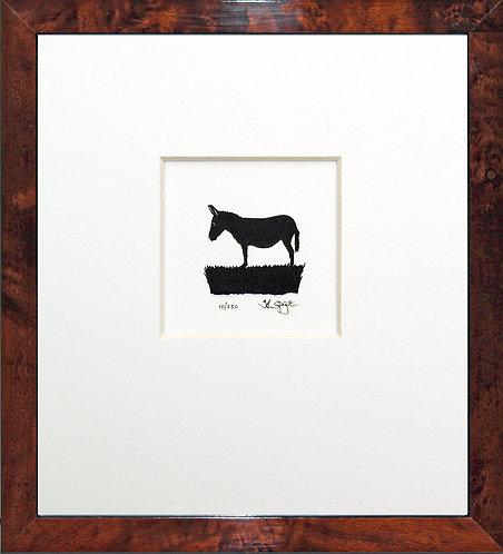 Donkey in Walnut Veneer Frame