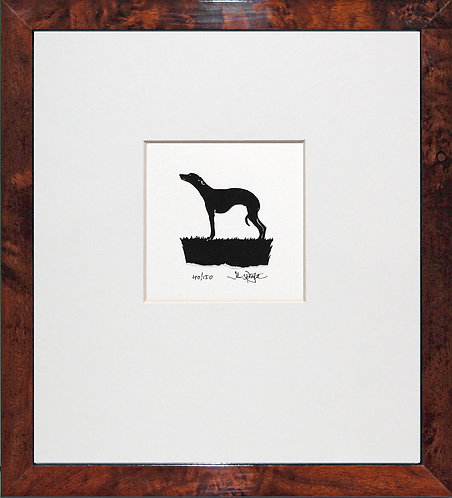 Whippet in Walnut Veneer Frame