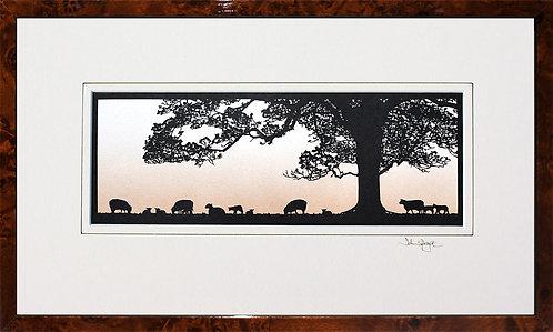 Sheep, Lambs and Tree in Walnut Veneer Frame