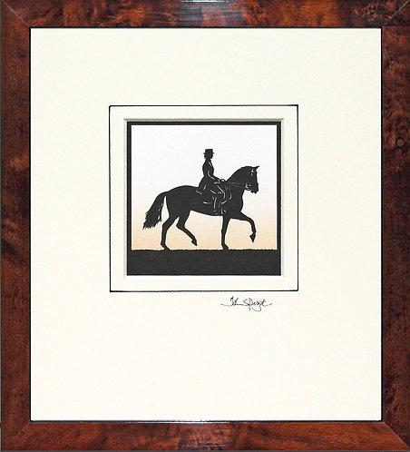 Dressage - Female Rider in Walnut Veneer Frame