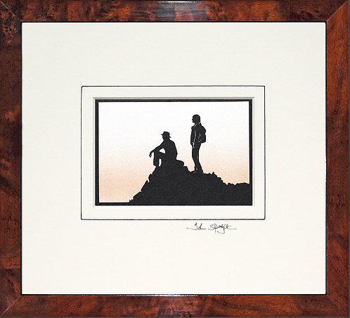 Walkers On Hill Top in Walnut Veneer Frame