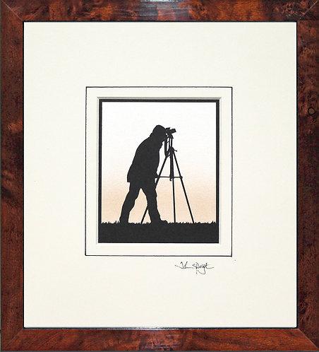 Photographer - SLR Camera in Walnut Veneer Frame