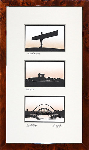 Angel of the North, Penshaw & Tyne Bridges Triple in Walnut Veneer Frame