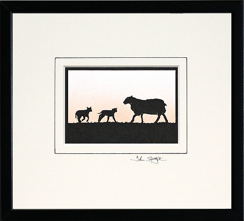 Sheep With Lambs in Black Frame