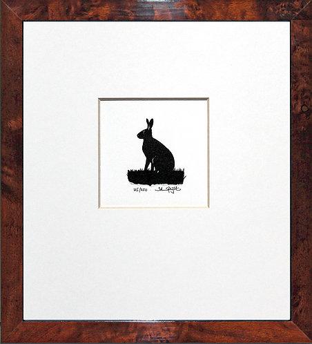 Hare in Walnut Veneer Frame