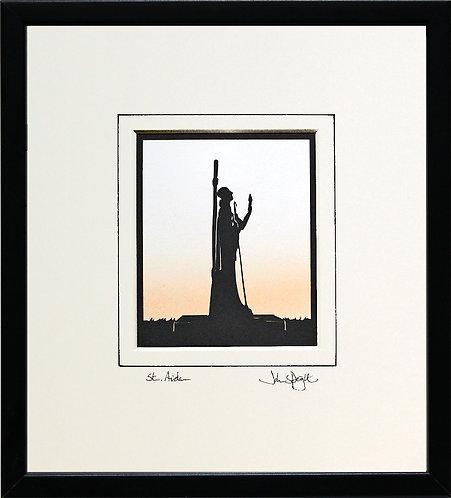 St. Aidan - Holy Island Statue in Black Frame