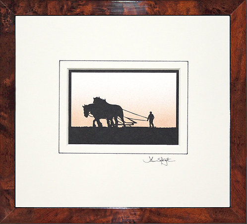 Heavy Horses in Walnut Veneer Frame