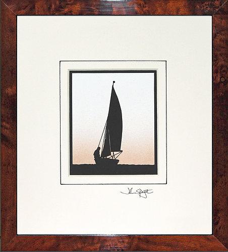 Sailing Dinghy in Walnut Veneer Frame
