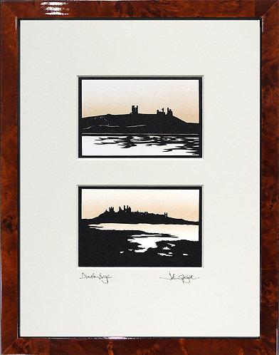 Dunstanburgh Caste Pair in Walnut Veneer Frame