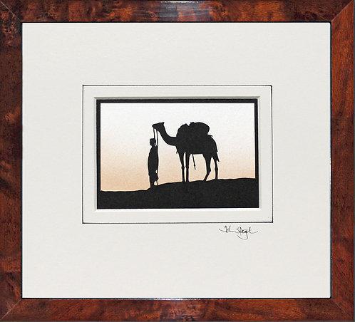 Camel in Walnut Veneer Frame