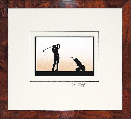 Golfer - Female in Walnut Veneer Frame