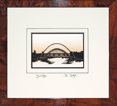 Tyne Bridges in Walnut Veneer Frame
