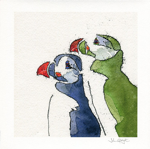 """Puffins (Design 2) 10"""" x10"""" Giclee Print Signed"""